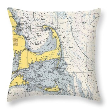 Nautical Chart Of Cape Cod 1945h Throw Pillow
