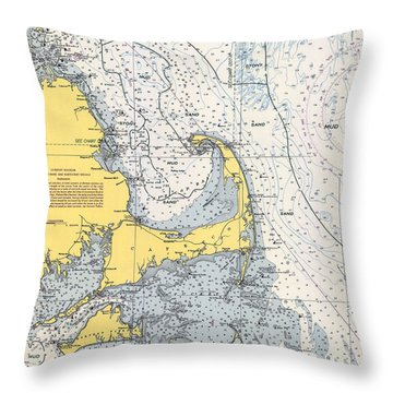 Nautical Chart Of Cape Cod 1945v Throw Pillow