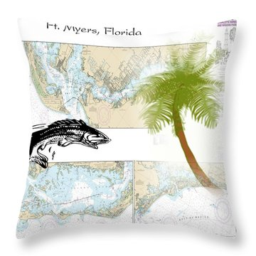 Nautical Ft Myers Florida Throw Pillow