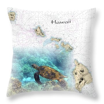 Nautical Hawaiian Islands Throw Pillow