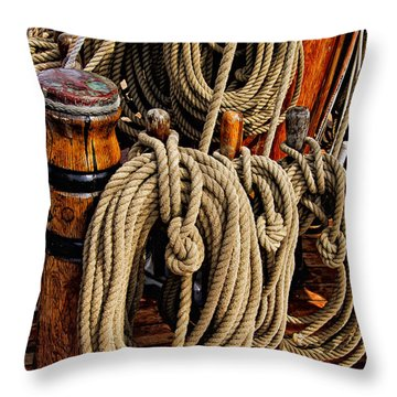 Nautical Knots 17 Oil Throw Pillow
