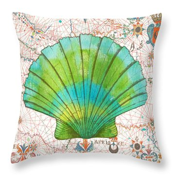 Throw Pillow featuring the painting Nautical Treasures-b by Jean Plout