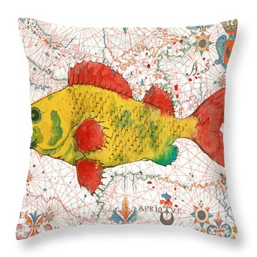 Throw Pillow featuring the painting Nautical Treasures-c by Jean Plout