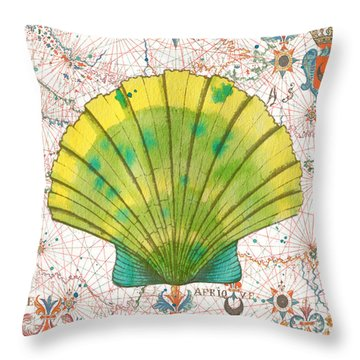 Throw Pillow featuring the painting Nautical Treasures-d by Jean Plout