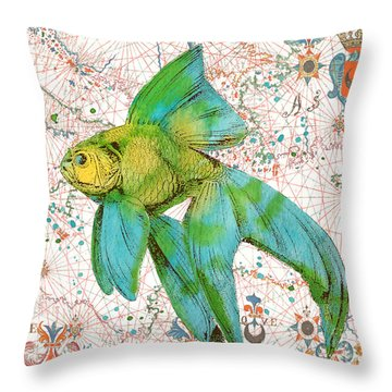 Throw Pillow featuring the painting Nautical Treasures-e by Jean Plout