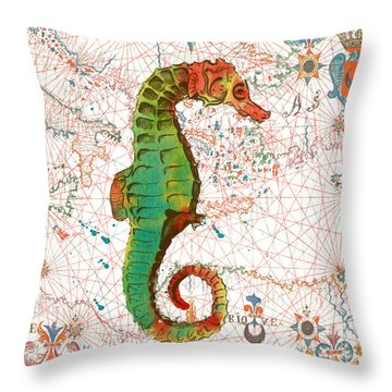 Throw Pillow featuring the painting Nautical Treasures-h by Jean Plout