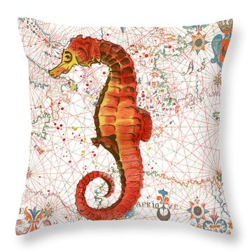 Throw Pillow featuring the painting Nautical Treasures-i by Jean Plout