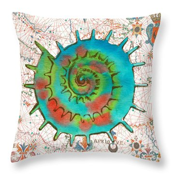 Throw Pillow featuring the painting Nautical Treasures-m by Jean Plout