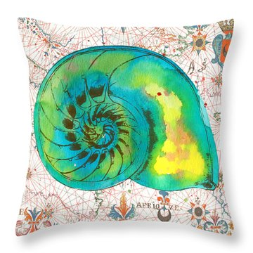 Throw Pillow featuring the painting Nautical Treasures-n by Jean Plout