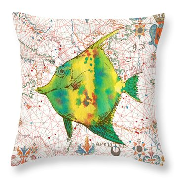 Throw Pillow featuring the painting Nautical Treasures-p by Jean Plout