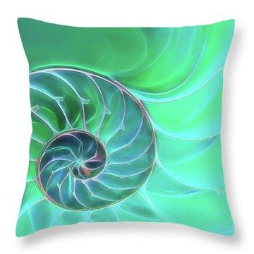 Nautilus Aqua Spiral Throw Pillow by Gill Billington