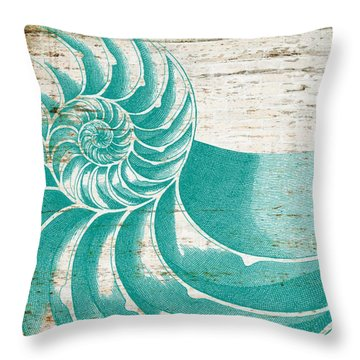 Nautilus Shell Distressed Wood Throw Pillow by Brandi Fitzgerald