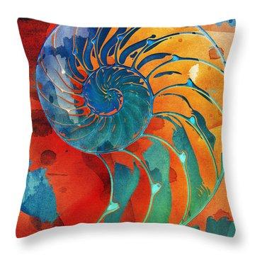 Nautilus Shell Orange Blue Green Throw Pillow