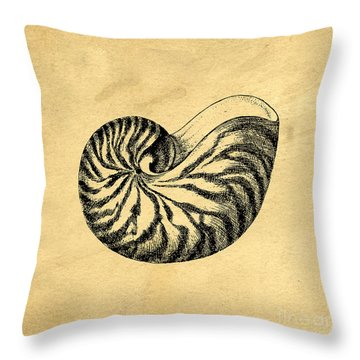 Throw Pillow featuring the digital art Nautilus Shell Vintage by Edward Fielding