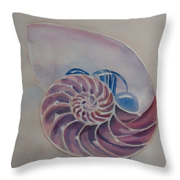 Nautilus With Glass Stones Throw Pillow by Jenny Armitage