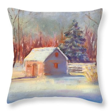 Nauvoo Winter Scene Throw Pillow by Rebecca Matthews