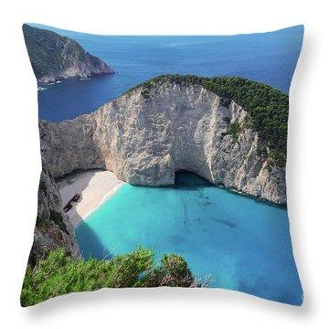 Navagio Beach Throw Pillow