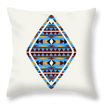 Navajo Blue Pattern Art Throw Pillow