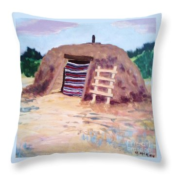 Throw Pillow featuring the painting Navajo Hogan by Suzanne McKay