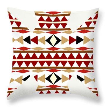 Navajo White Pattern Art Throw Pillow