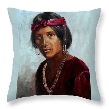 Navajo Youth Throw Pillow
