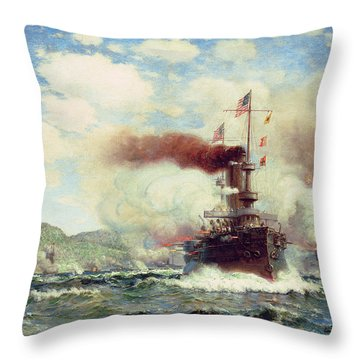 Naval Battle Explosion Throw Pillow