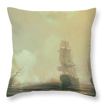Naval Battle In Chesapeake Bay Throw Pillow by Jean Antoine Theodore Gudin