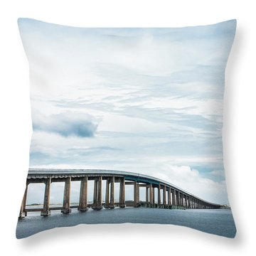 Throw Pillow featuring the photograph Navarre Bridge In Florida On The Sound Side by Shelby Young