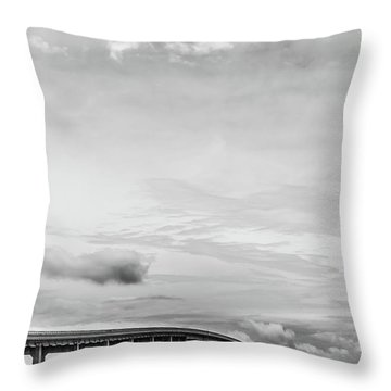 Throw Pillow featuring the photograph Navarre Bridge Monochrome by Shelby Young