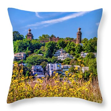 Navesink Light On The Hill Throw Pillow