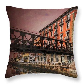 Naviglio Grande Milan Italy Throw Pillow