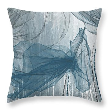 Throw Pillow featuring the painting Navy And Gray Abstract - Navy Blue And Gray Modern Art by Lourry Legarde