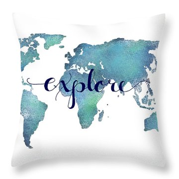 Navy And Teal Explore World Map Throw Pillow