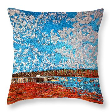 Navy Island And Market Wharf St. Andrews, Nb View From Water Street Throw Pillow
