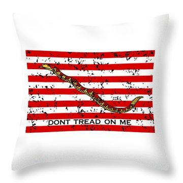 Navy Jack Flag - Don't Tread On Me Throw Pillow