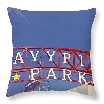Navy Pier Throw Pillow by Mary Machare