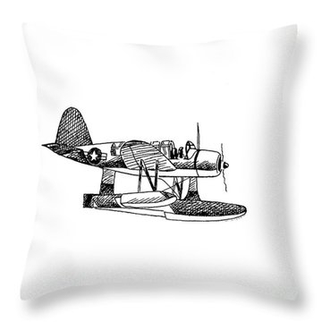 Navy Scout Observation Plane Pen And Ink No  Pi201 Throw Pillow by Kip DeVore