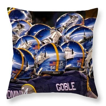 Navy Sea Of Helmets Throw Pillow