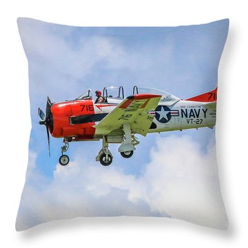 Throw Pillow featuring the photograph Navy Trainer #2 by Tom Claud