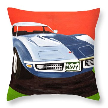 Navy Vette Throw Pillow