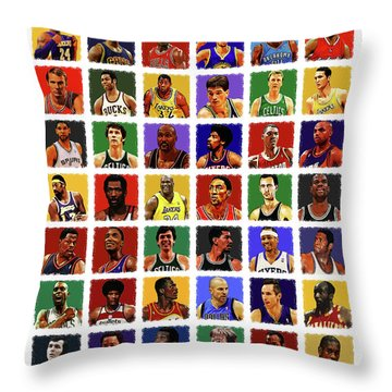 Nba All Times Throw Pillow by Semih Yurdabak