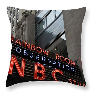 Nbc Studio Rainbow Room Sign Throw Pillow by Lorraine Devon Wilke