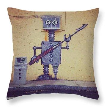 Street Art Robot Throw Pillow