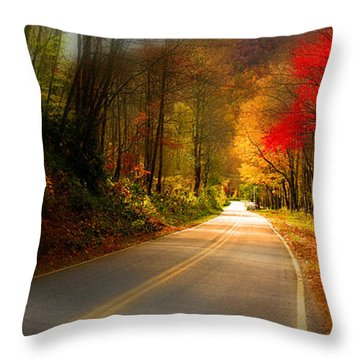 Nc Mountain Fall Drive Throw Pillow by Gray  Artus