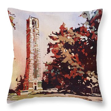 Throw Pillow featuring the painting Ncsu Bell-tower II by Ryan Fox