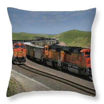 Nebraska Coal Trains Throw Pillow