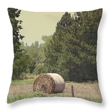 Nebraska Farm Life - Hay Bail Throw Pillow