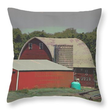 Nebraska Farm Life - The Family Farm Throw Pillow