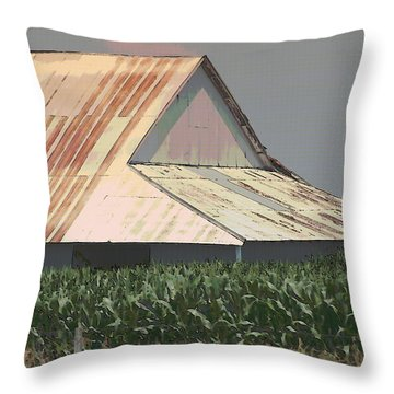 Nebraska Farm Life - The Tin Roof Throw Pillow