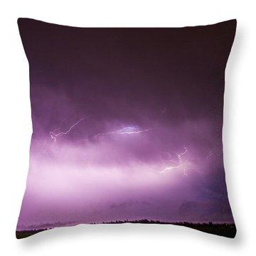 Nebraska Night Thunderstorms 013 Throw Pillow